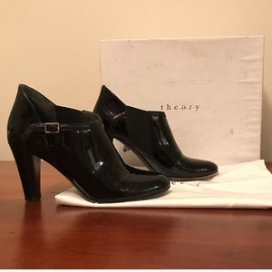 Theory patent black ankle booties/heels size 6.5